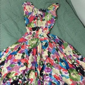 Floral gauze smocked tea length dress cotton puff